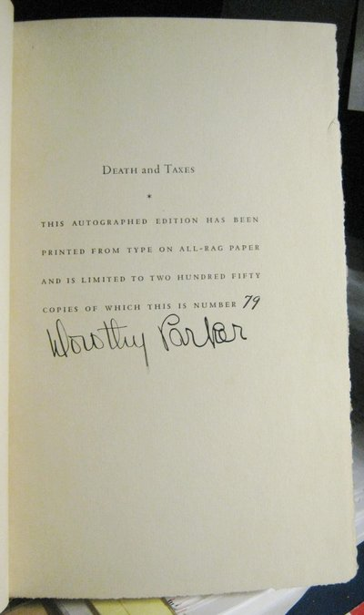 DEATH AND TAXES (signed limited edition) by PARKER, Dorothy