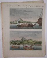 Ansichten von der küste von Japan nebst Japanischen fahrzeugen. Vues de la côte du Japon et des vaisseaux Japonais. by Bertuch, Friedrich Johann