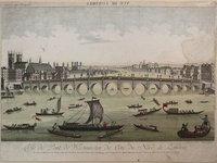 Vue d'optique du Pont de Westminster Du Côté du Nord de Londres by LEIZELT, Balthazar Frederic.