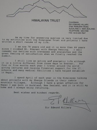 Letter regarding The Himalayan Trust by Sir Edmund Hillary