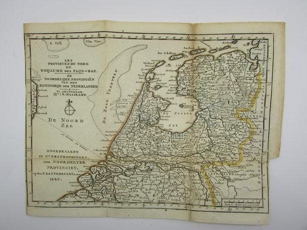 Kaart van het gebied in het noorden van Nederland getroffen door de overstromingen in 1825 by MAASKAMP, E