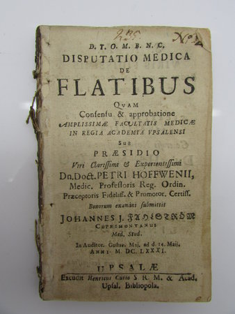 Disputatio medica de flatibus by FAHLSTRÖM, Johannes and HOFFWENII, Petri.