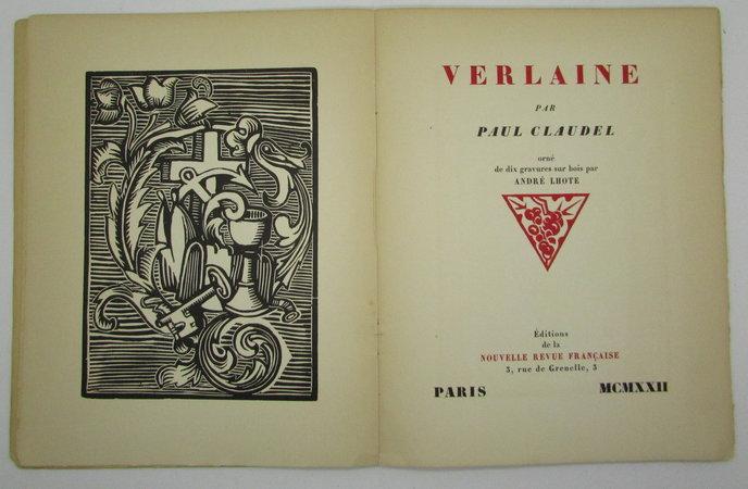 Verlaine. by CLAUDEL, Paul