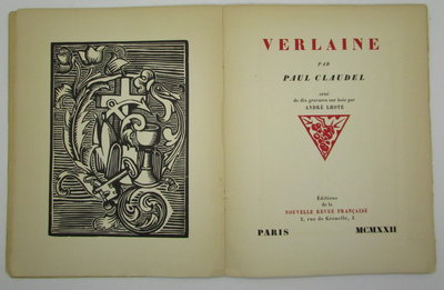Verlaine. by CLAUDEL, Paul