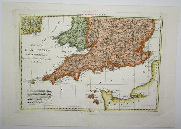 Royaume d'Angleterre, Partie Méridionale. by BONNE, Rigobert
