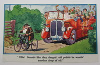 Vintage Comic Postcard - Old Man on Tricycle with Charabanc full of daytrippers behind by Dennis Mallet
