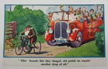 Another image of Vintage Comic Postcard - Old Man on Tricycle with Charabanc full of daytrippers behind by Dennis Mallet