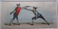 Another image of Hand coloured copper engraved plate from: The School of Fencing, by ANGELO [Domenico Malevolti]