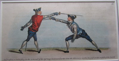 Hand coloured copper engraved plate from: The School of Fencing, by ANGELO [Domenico Malevolti]