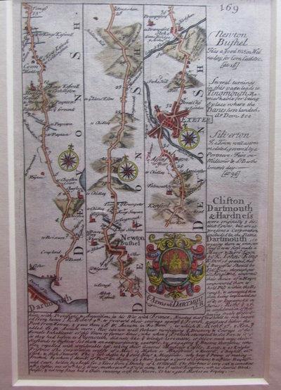 Antique Road Map - Dartmouth, Exeter, Silverton, Newton Bushel by BOWEN, Emmanuel