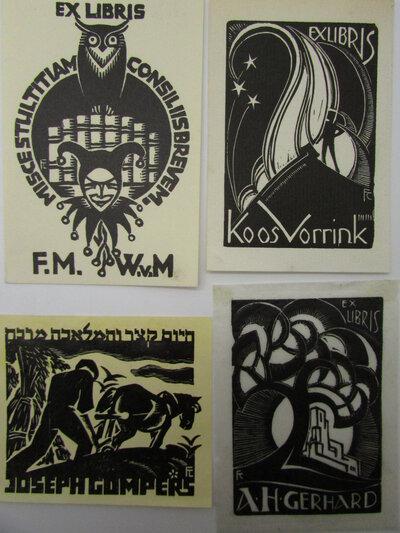 Ex-libris - four woodcut book plates by COHEN, Fré