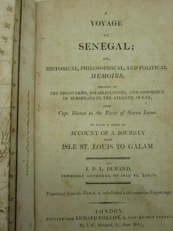A Voyage to Senegal; by DURAND, J.P.L.
