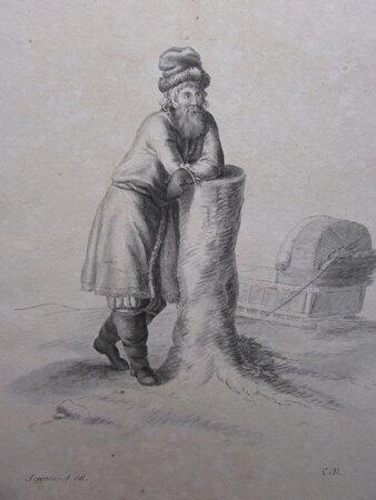 Pencil sketch: A Bulgarian in a Winter Dress. by C. R. [after Gabriel Ivanovich Scorodomoff]