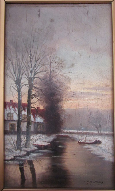 Winter Landscape - oil painting by HERMANS, H.