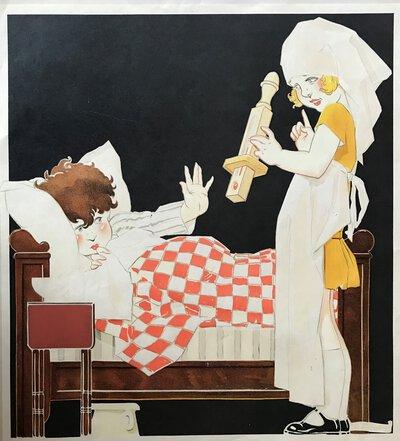 Nurse and Patient - original vintage print by VINCENT, René