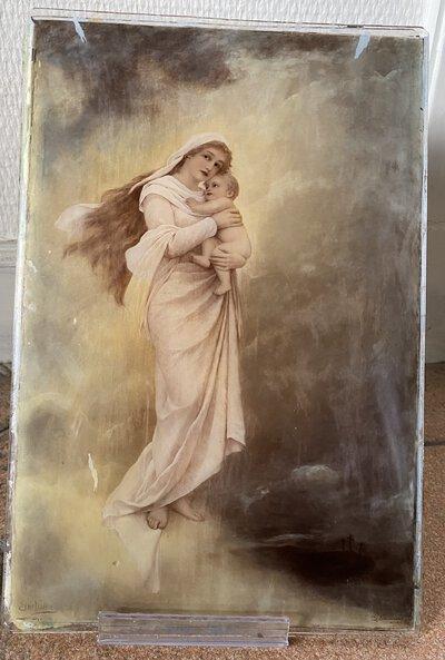 Une peinture sur verre à deux couches de la Vierge Marie / A two layer glass painting of the Virgin Mary by [ANON]
