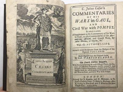 C. Julius Caesar's Commentaries of His Wars in Gaul, and Civil War with Pompey. by CAESAR, C. Julius. - BLADEN, Martin (Trans.)