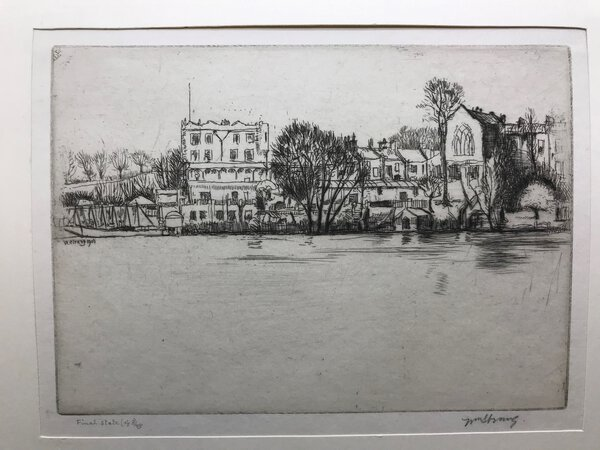 The Vale of Health, Hampstead Heath in London. Signed etching. by STRANG, William