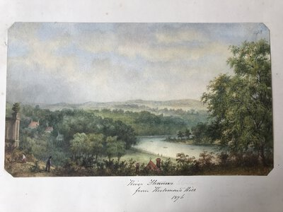 Original Watercolour: View from Castle at Richmond of the River Swale (North Yorkshire) by [ANON]