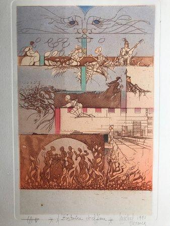"""""""L'Histoire et l'eau"""" - original signed etching by LEROUX, Michel"""