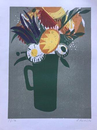Signed colour woodcut - Jug of Flowers / Blumenstrauß im Krug by FRIEDRICH, Heinz