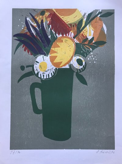 Signed colour woodcut - Jug of Flowers / Blumenstrauß im Krug by FRIEDRICH, Heinz