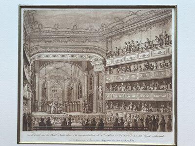 Vue intérieure du théâtre hollandais, a la représentation de la tragédie de Gysbert d'Amstel, Sujet national. by E. Maaskamp