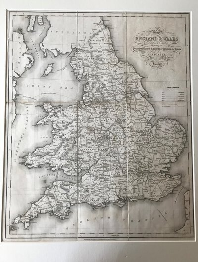 Map of England & Wales Divided into Counties Shewing the Principal Roads, Railways, Canals & the Rivers as far as they are Navigable by STARLING, Thos. and R. Creighton