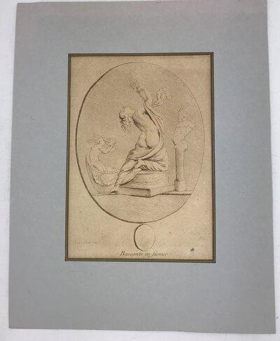 Baccante en fureur - etching from the work: Suite de sujets dessinés d'après l'antique par Edme Bouchardon sculpteur du Roy by BOUCHARDON, Edme