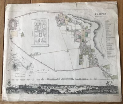 Pompeii - engraved town map by NICHOLSON, T.E.
