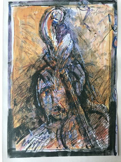 Signed limited print of a cellist by OHLMANN, Aloys