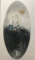 Art Deco drypoint etching of a flirtatious woman, with hand colouring by [GILLES, Jean]
