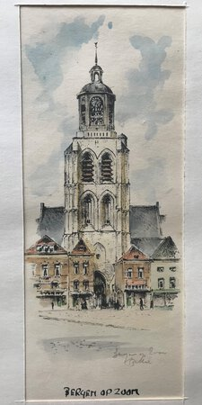 An original watercolour Sint Gertrudiskerk, Bergen op Zoom by [ANON]