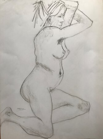 Nude study in pencil / charcoal by BOLLION, M.