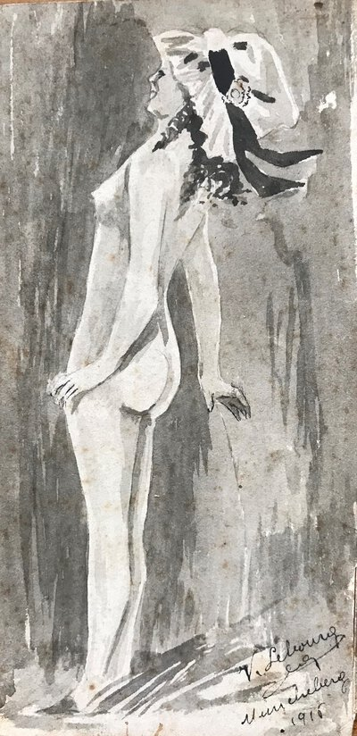 Original small ink portrait of a nude woman in bonnet by LEBOURG, V.