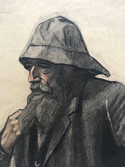 Original pastel portrait of a fisherman by WIJKNIET, A.W.