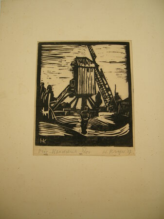 Woodcut of a Windmill by Kröger, H.