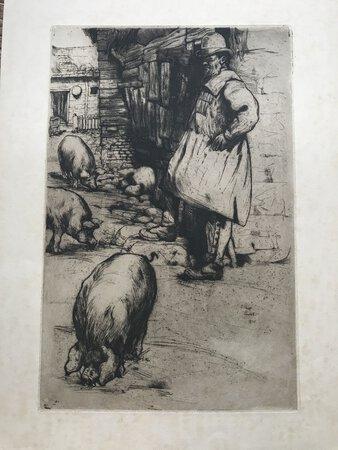 The Pig Farmer copper engraving by PIMLOTT, E. Philip
