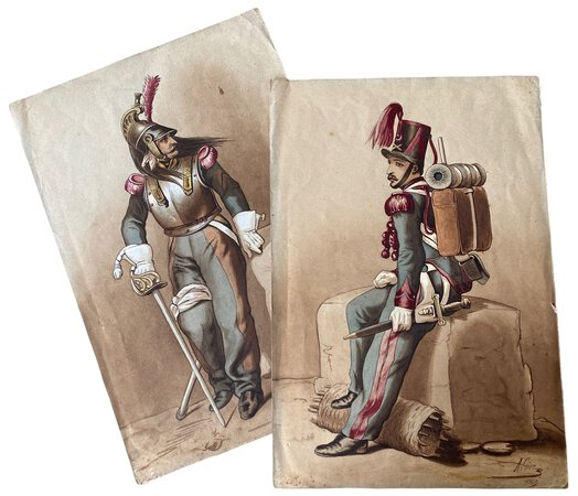 Two watercolours of Napoleonic soldiers by GIRE, A.