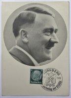 Postally used postcard bearing a portrait of Adolf Hitler.