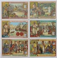 Liebig Beef Extract trade cards: Episodes de l'Histoire de Belgique jusqu' au XIIIe siècle.