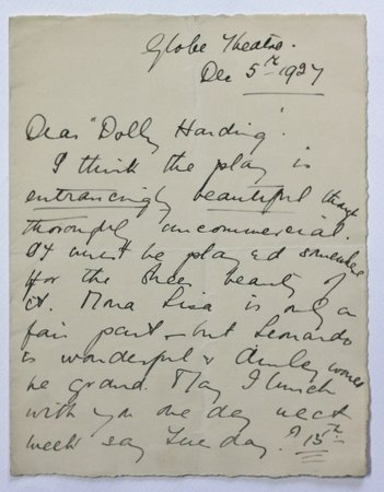 An A.L.S. from Mary Clare to Dolly Harding [ Dolores].
