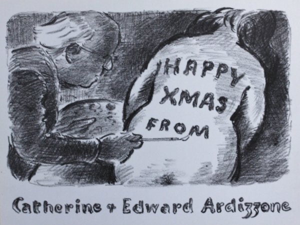 Christmas Card. SELF PORTRAIT WITH NUDE.' by Ardizzone, Edward. [1900-1979.]