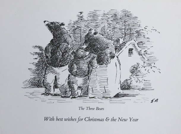 Christmas Card. THE THREE BEARS. by Ardizzone, Edward. [1900-1979.]