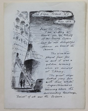 A letter to the Double Crown Club, thanking them for a dinner given on board the Orsova 1954. by ARDIZZONE, Edward.
