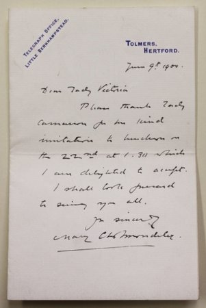 An A.L.S from Mary Cholmondeley to Lady Victoria, dated June 9th 1900, written on 'Tolmers' headed paper, accepting an invitation to luncheon.