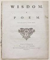 WISDOM. A Poem. by [WILKINSON, Edward.]