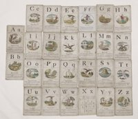 A set of 25 [of 26] 18th century alphabet cards. by (Wynne, John Huddlestone.)