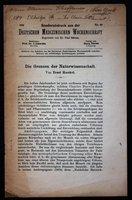 Sonderabdruck au der Deutschen Medizinischen Wochenschrift. No 40. 1910. Redkteur: Prof. Dr. J. Schwalbe. by [HAECKEL, Ernst.]