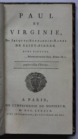 PAUL ET VIRGINIE.  Avec Figures… Papier velin d'Essone. by SAINT-PIERRE, Jacques-Henri Bernardin de.